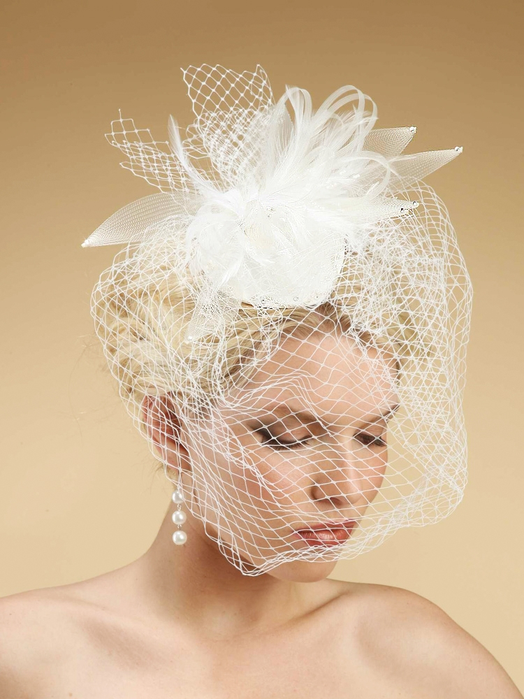 8273c4e373ad3 Mariell White Bridal Cocktail Hat with Feathers   Birdcage Veil on ...