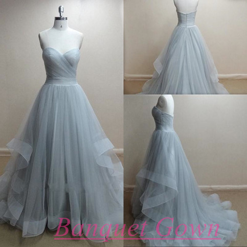 grey dresses for a wedding charming prom dress tulle prom dress strapless prom dress 4622