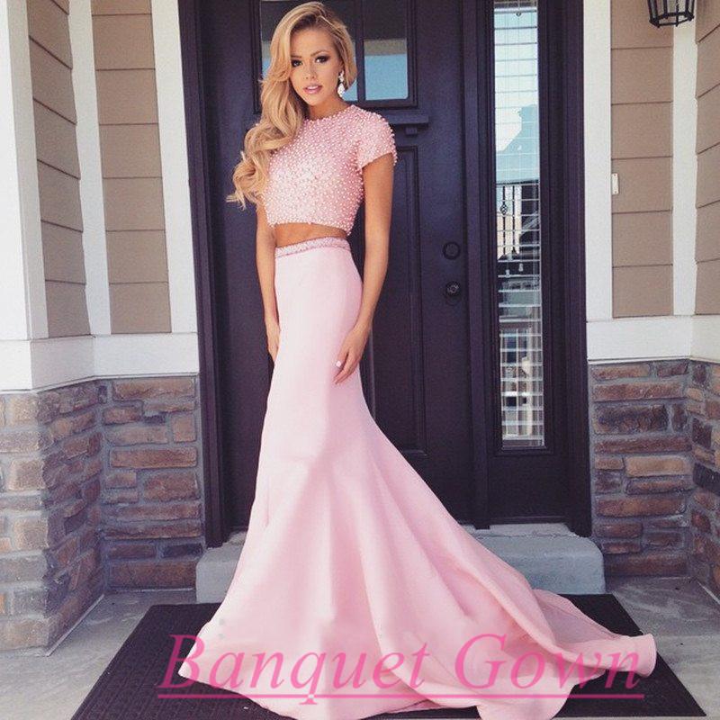 Pearl Beaded Short Sleeves Long Pink 2 Piece Prom Dresses Mermaid ...