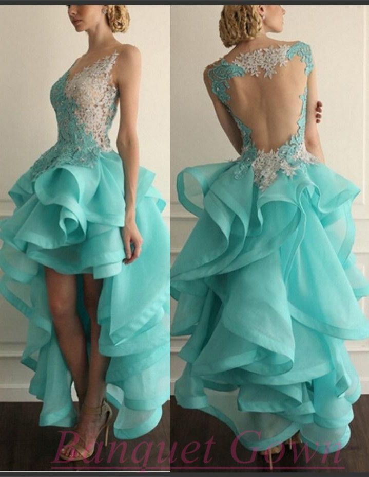 97a3566fdb4 Sexy High Low White Blue Lace Prom Dresses Organza Ruffles With Appliques  For Teens - Thumbnail ...