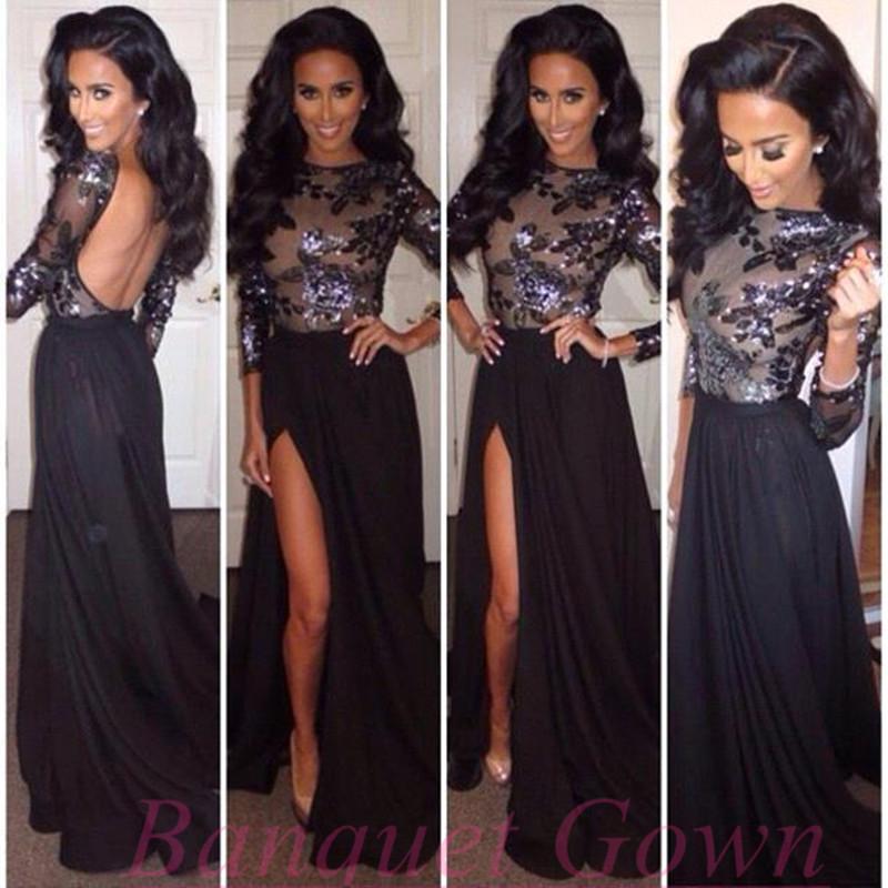 Sequins Long Sleeves Backless Prom Dresses Long Black High Side Slit ...