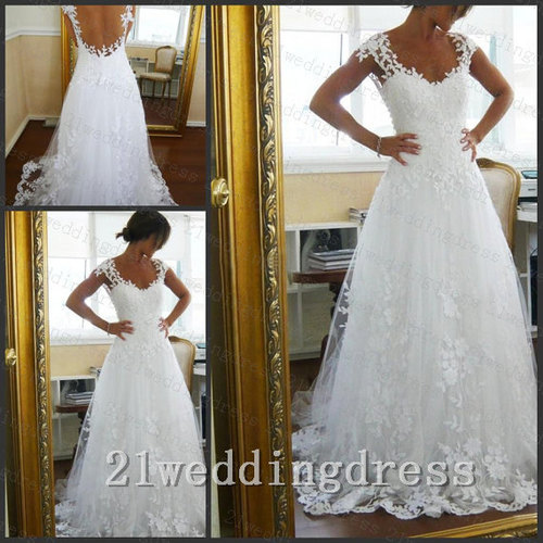 White Lace Tulle Open Back Wedding Dresscap Sleeves See