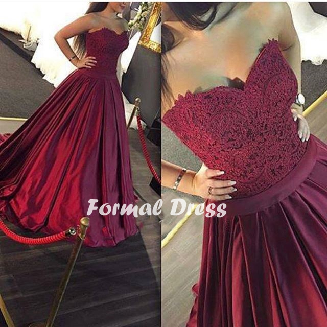 Maroon Long Prom Dress, Sweetheart A-line Lace Prom Dress,Formal ...