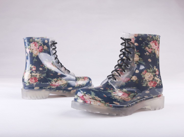 Blue Floral Laced Rubber Rain Boots On Storenvy