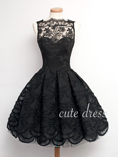 Cute Black A Line Lace Short Prom Dress For Teens Bridesmaid Dress