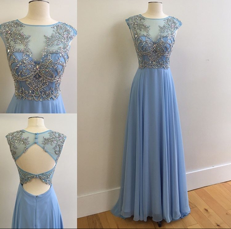 New Arrival Long Chiffon Prom Dresses With Illusion Neck Beaded