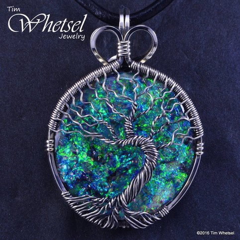 Sterling Silver Tree Of Life Opalescent Orgonite Necklace