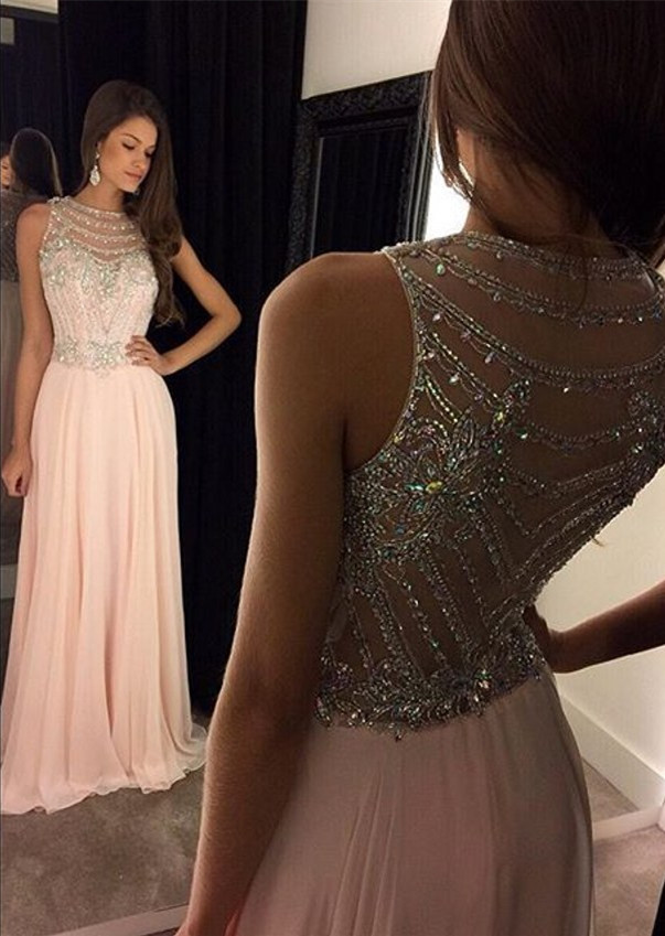8c676a2fa04 Sleeveless Jewel beading A-line light pink prom dresses