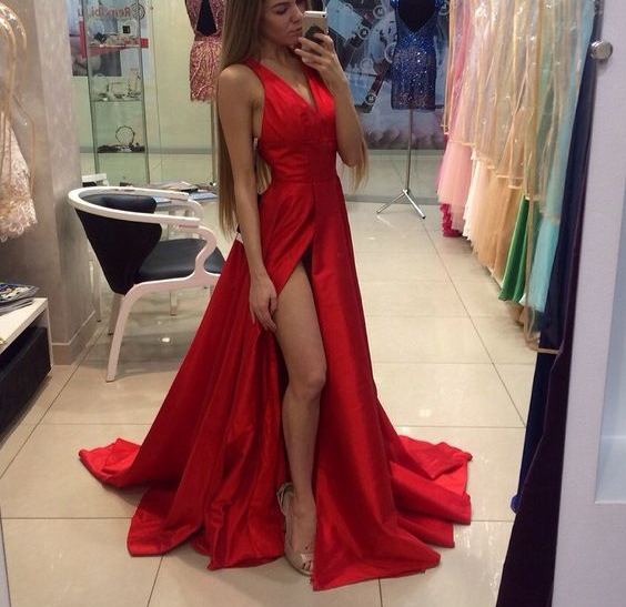 Stylish Red Prom Dress A Line V Neck With Slit Long Prom