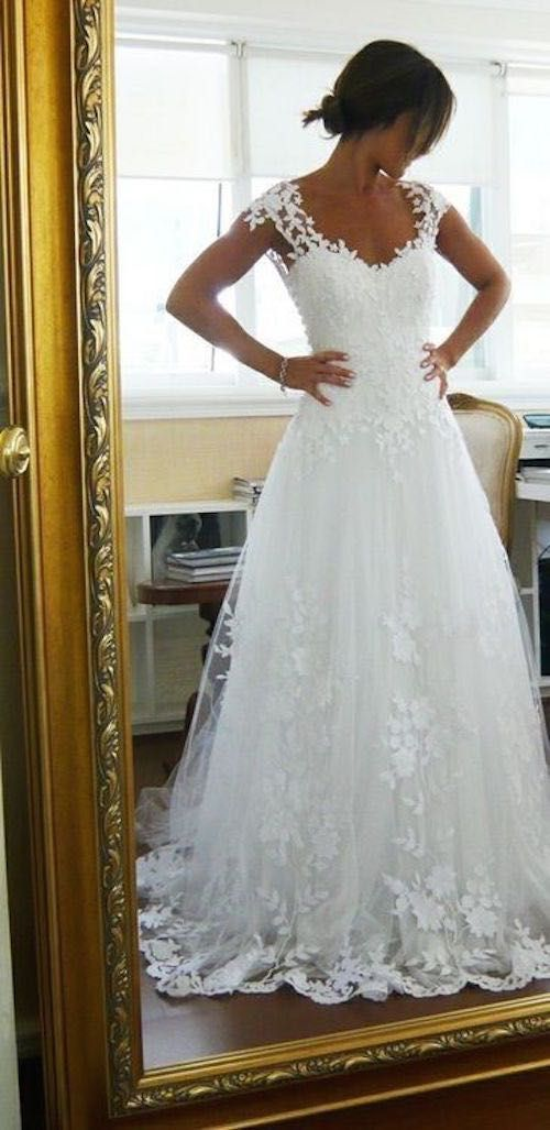 Sexy Capped Sleeves A Line Lace Wedding Dresscheap Bridal Gown On