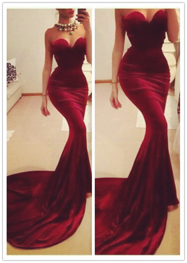 09526794e5f Womens Red Strapless Chapel Train Slim Fit Evening Gown