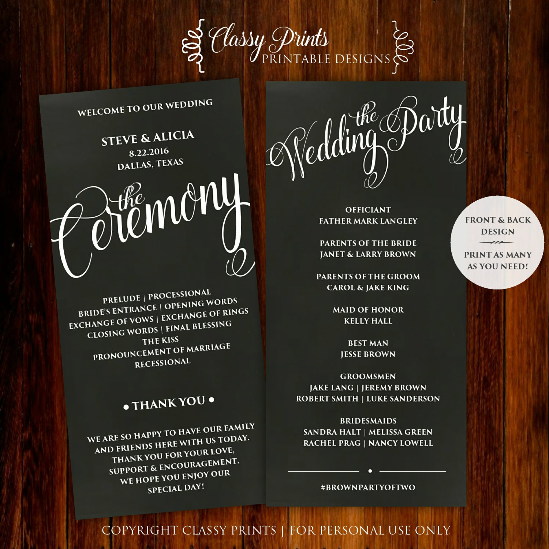 Printable Wedding Program Wedding Program Template Diy Wedding