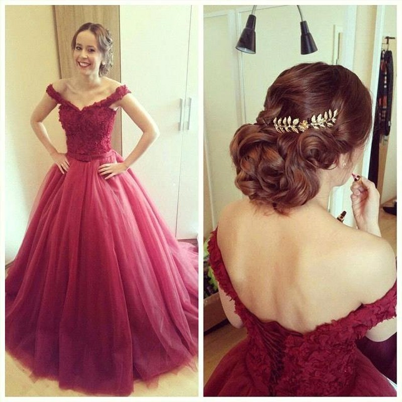 Ball gown prom dresses, burgundy prom dress,