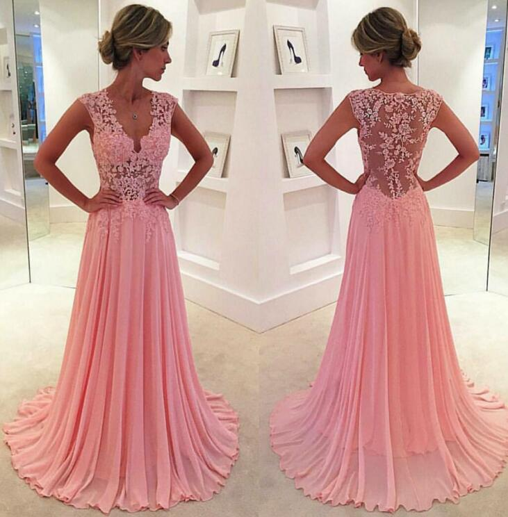 640b5dcaae9 Sexy Lace and Chiffon Celebrity Prom Dresses pst0093 on Storenvy