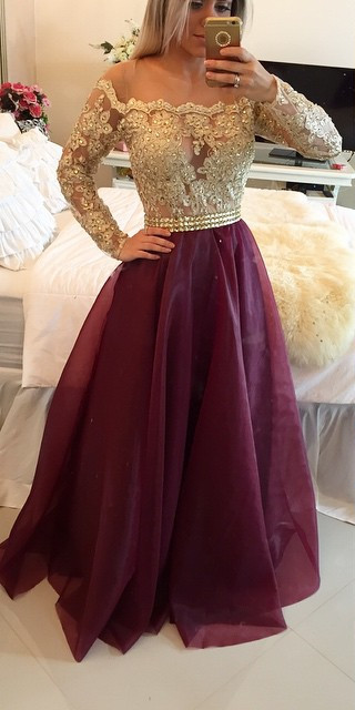 A Line Long Sleeves Maroon Prom Dress With Golden Top