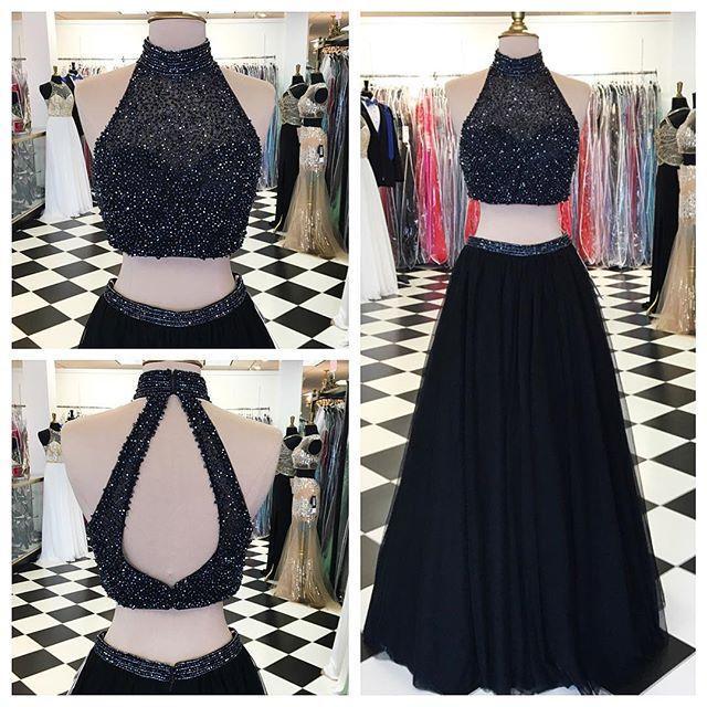 f014a27681b High Neck Halter Prom Dresses,Black Tulle Skirt 2 Piece Prom Dresses,Long  Formal