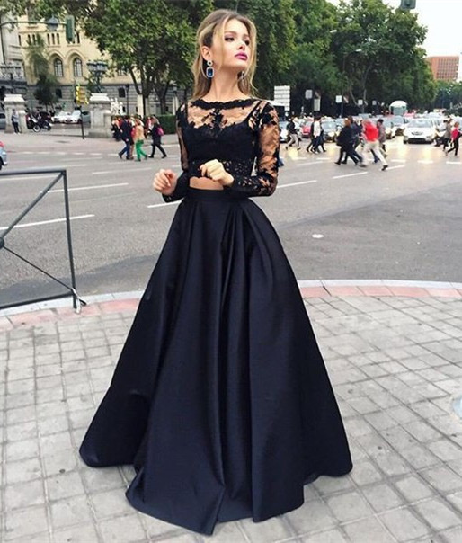 Black Lace Two Pieces Evening Dresses Gorgeous Long Sleeves High ...