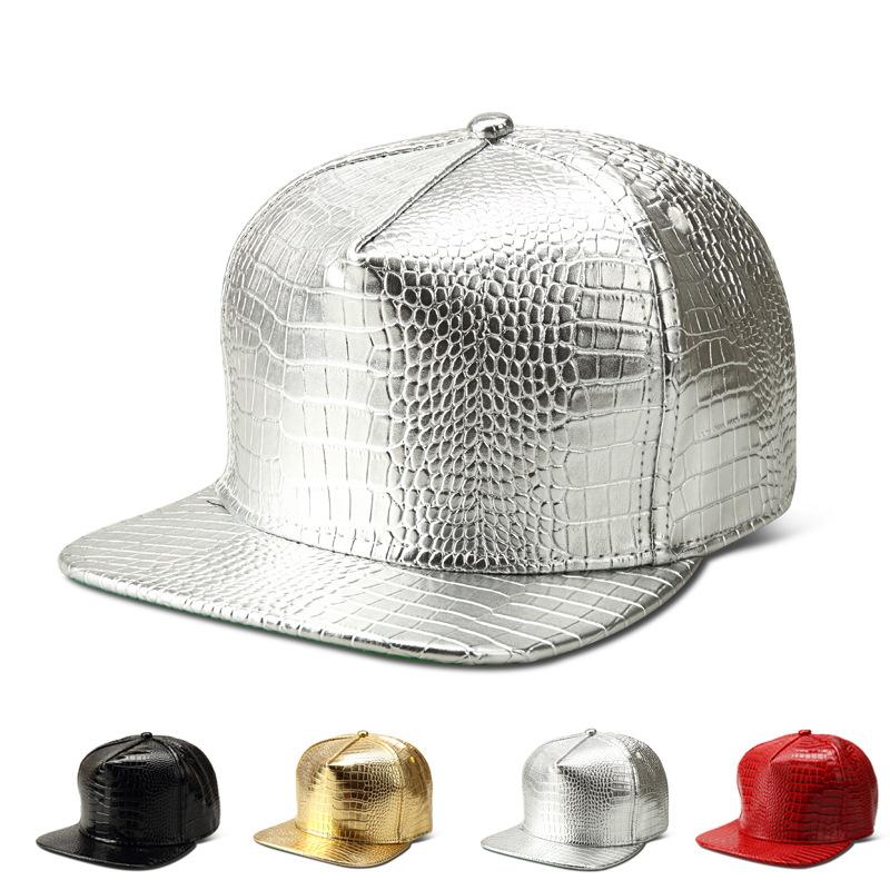 Crocodile grain snakeskin grain baseball cap or flat hat PU leather ... 74f5414a845