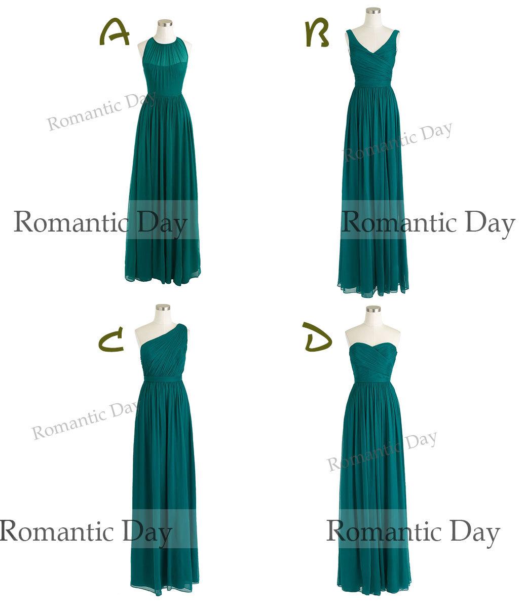 2015 Four Style Dark Green chiffon Long bridesmaid dress/plus size ...