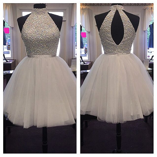 e0d292593a New Arrival Colors Beaded High Neck Short Prom Dresses Homecoming Dress