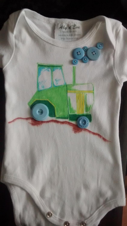 Tractor Tractor Bodysuit Tractor Onesie Boy Onesie Boy Bodysuit