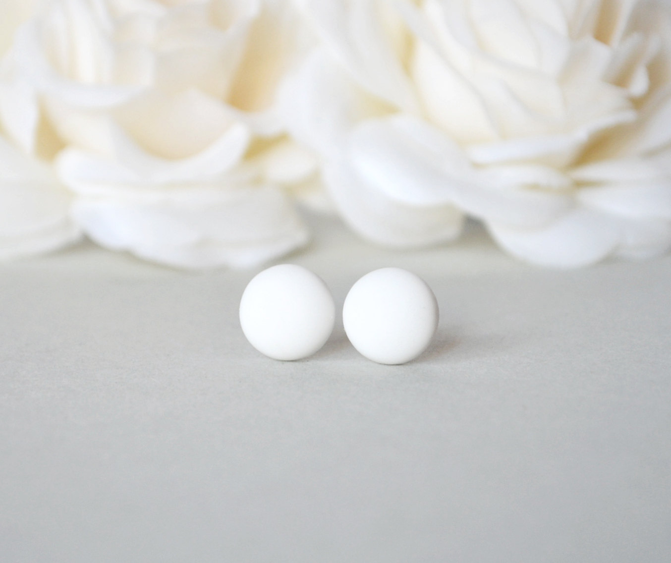 white earrings round small matte products il studs fullxfull original