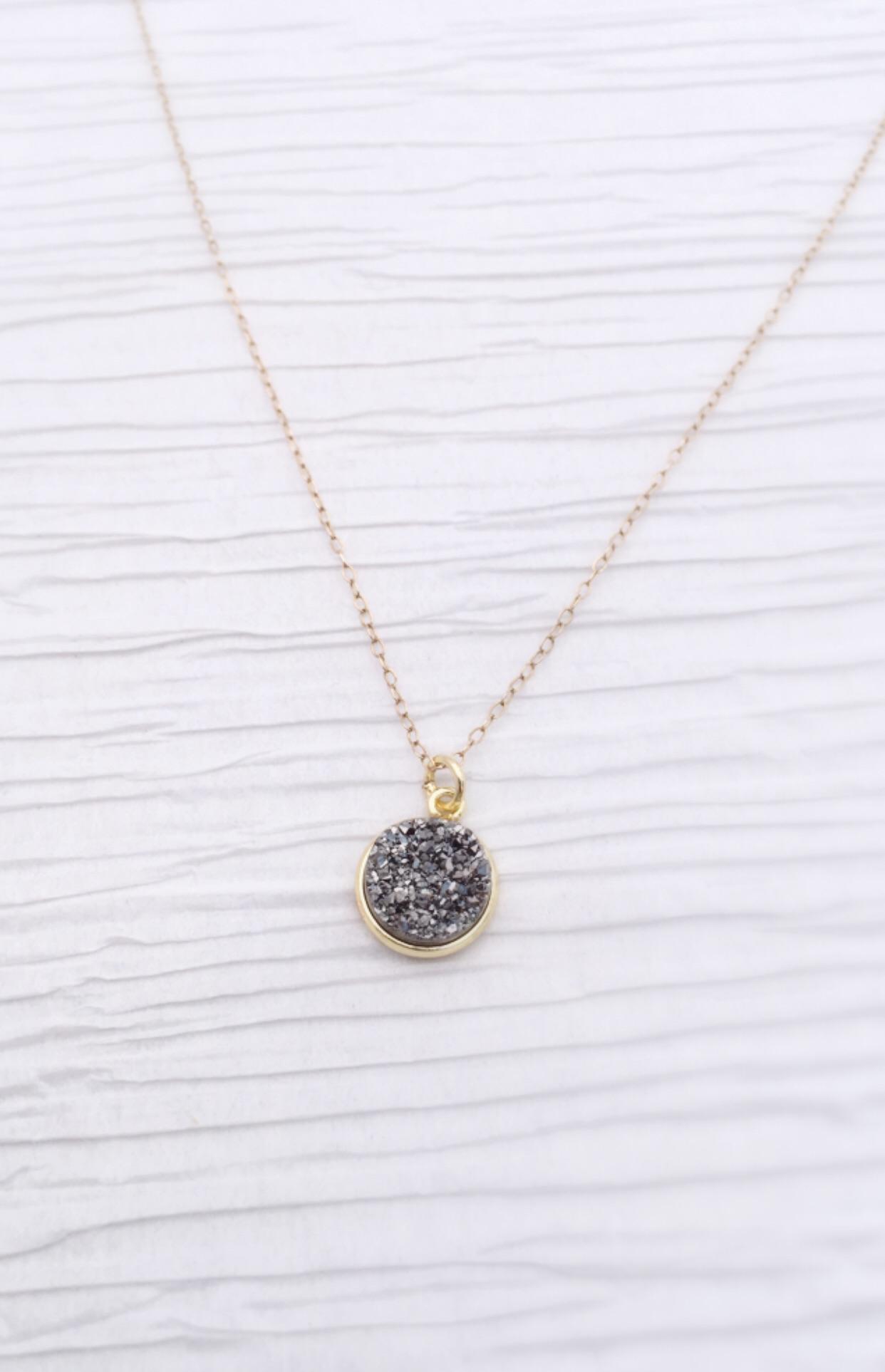 Gray druzy pendant necklace on storenvy image original aloadofball Images