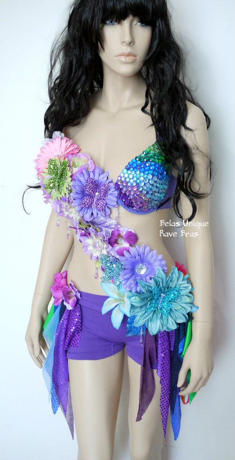 Inverted Rainbow Fairy Monokini Costume Cosplay Dance ...