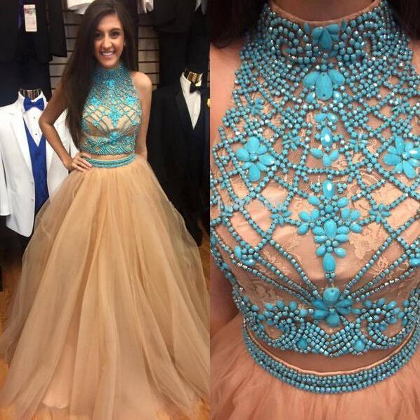1a66c378028 Illusion Neck Prom Dresses with Blue Gemstones