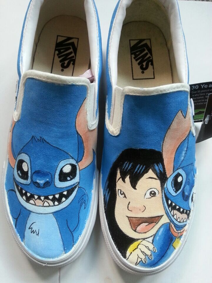 593b3088ef Vans Anime lilo and stitch Vans Shoes Hand Painted Canvas Shoes ...