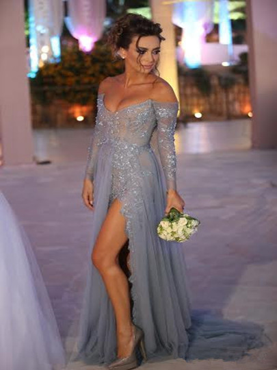 d689ba221a3 Grey Sweep Train V-neck Appliques Beading Long Sleeves Prom Dress ...