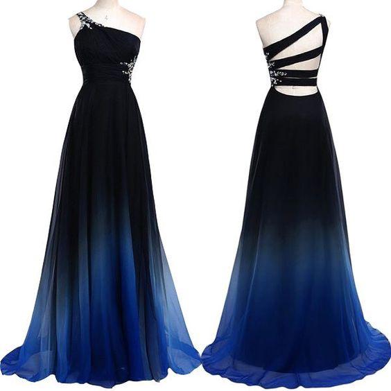 Navy Blue Gradient Long Prom Dresses One Shoulder Royal