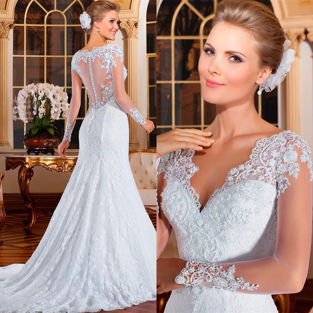 Happydresses 2016 lace White/Ivory Wedding Dress Bridal Gown On Sale ...