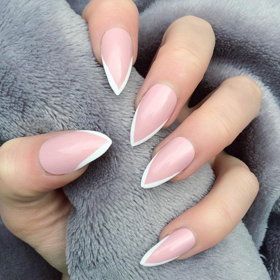 Mini Mani Baby Pink White Stiletto Nails on Storenvy