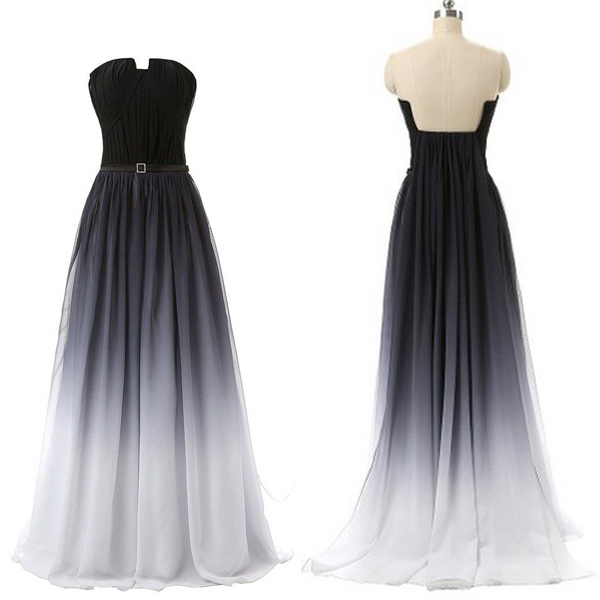 U Neck Black Navy Blue Gradient Prom Dresses Ombre Colors Long Prom ...