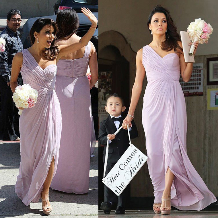 5e342de1af Trendy One Shoulder Chiffon Bridesmaid Dress with Ruching Detail ...