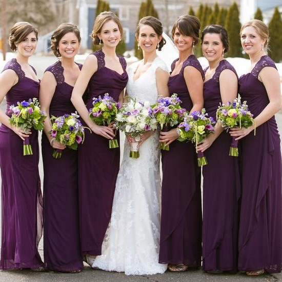 e28623f513 Purple Bridesmaid Dress with Beautiful Cowl Neck, Column Chiffon Bridesmaid  Dresses, Simple Bridesmaid Dress with Lace Straps, #01012768