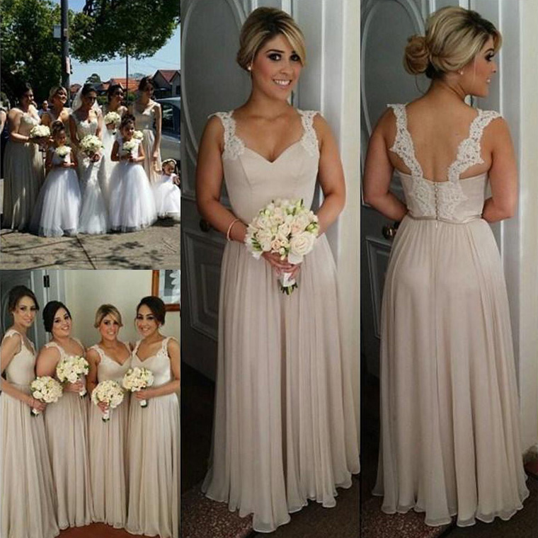 1e4e1b4c4a766 Elegant Chiffon Bridesmaid Dress with Lace Straps, Floor-length Sweetheart  Gowns for Bridesmaid,