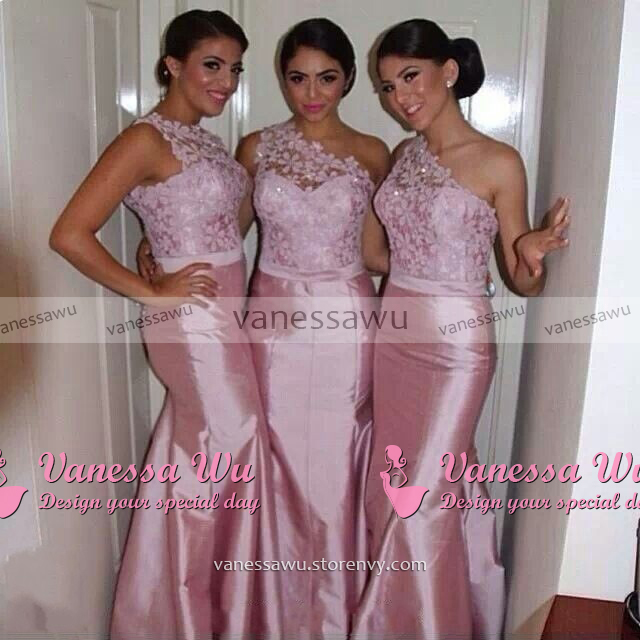 e62b58cd553 ... Trendy One shoulder Bridesmaid Dress with a Ribbon