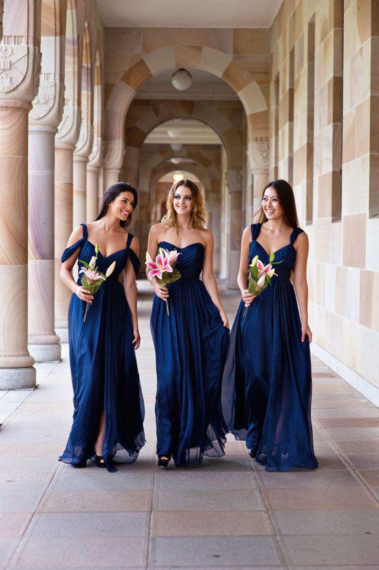 98d2d9f7b5b Dark Royal Blue Chiffon Wedding Party Dresses for Bridesmaids ...