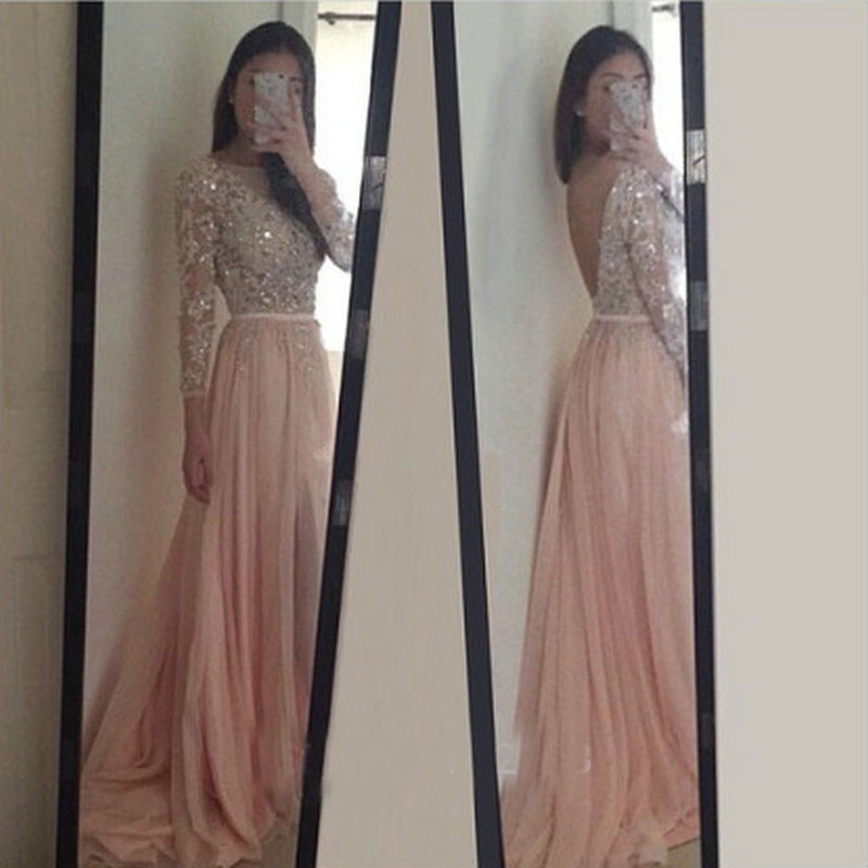 2fb912a612f Amazing Long Prom Dresses,Long Sleeves Evening Dresses,Open Back Prom  Dresses,Lace Applique Prom Dresses,Dress For Porm,f032