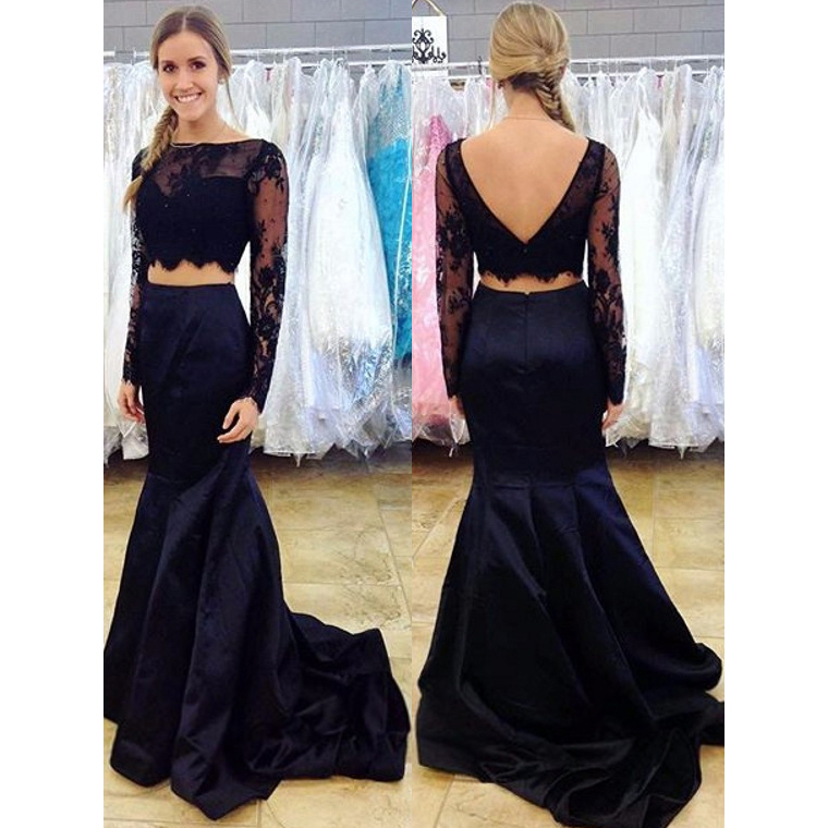 Navy Blue Two Piece Prom Dress Long Sleeve Lace Prom Dresses