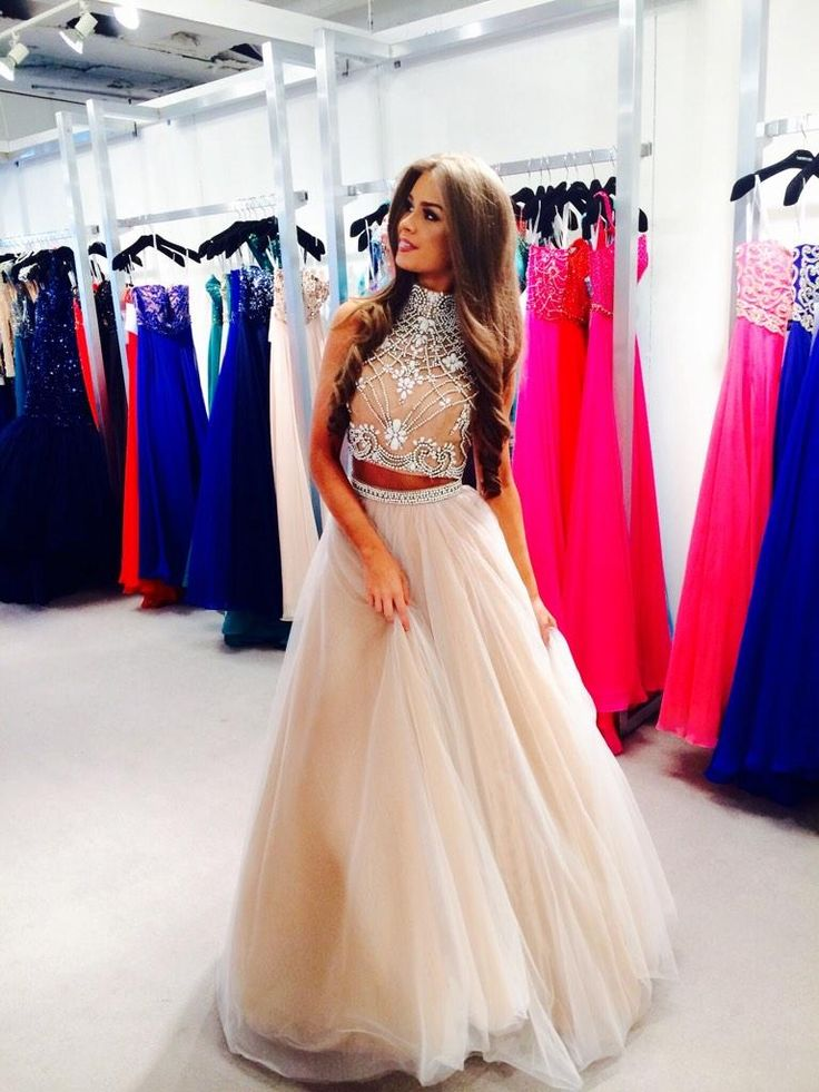 Beaded High Neck Two Piece Nude Prom Gown With Keyhole Back