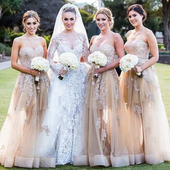 Champagne Sweetheart Bridesmaid Dress with
