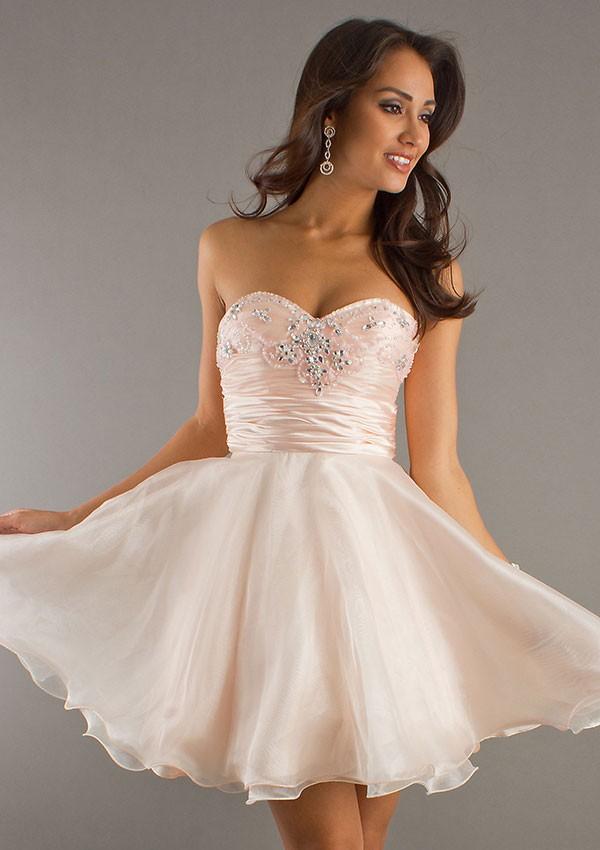 LH11 A Line Sweetheart Beading Pleat Light Pink Homecoming Dresses ... d997537b0d04