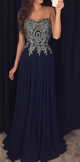 Navy blue long chiffon sweetheart lace applique prom dress, formal ...