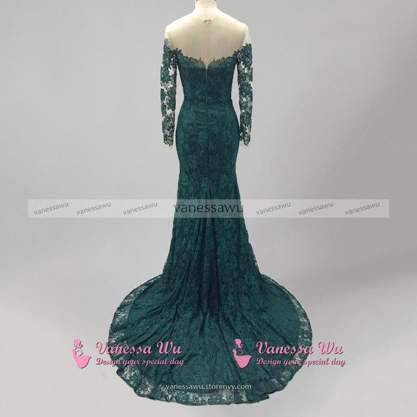 Emerald Green Lace Prom Dress, Long Sleeve Mermaid Prom Dress, Off ...