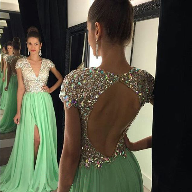 Open Back V Neck Prom Dresses With Side Slit All Over Beaded Prom