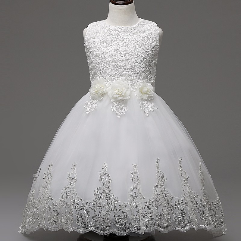 Real Romantic Flower Girl Dress For Party And Wedding Kids Clothes