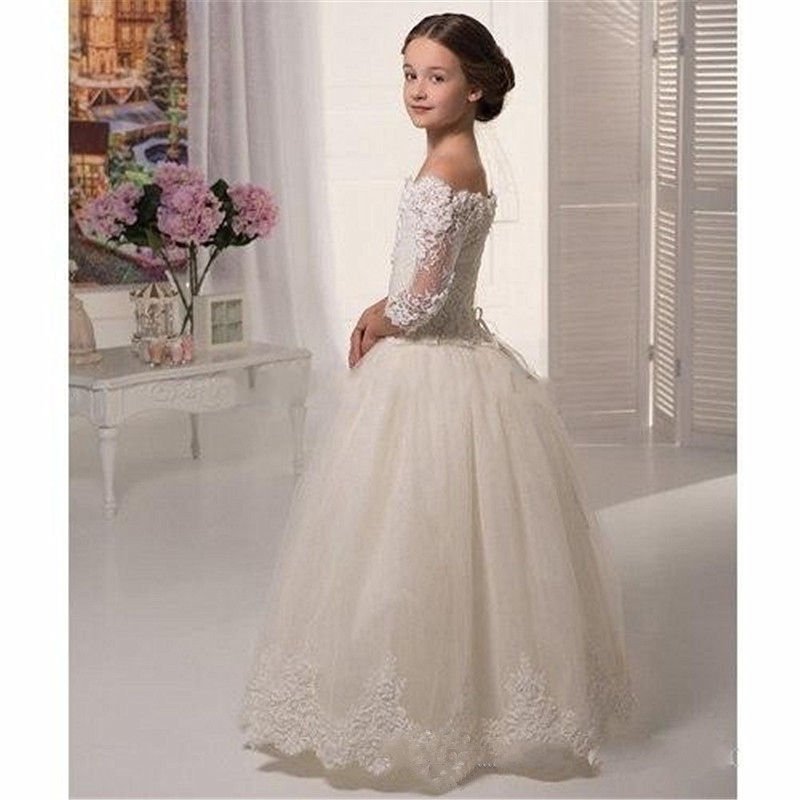 59090652703 Ivory Lace Flowergirls Flower Girl Dresses for Weddings First Communion  Dresses for Girls Tulle Ball Gowns ...